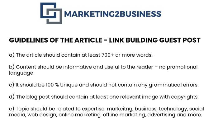 guidelines of the article - link building guest post